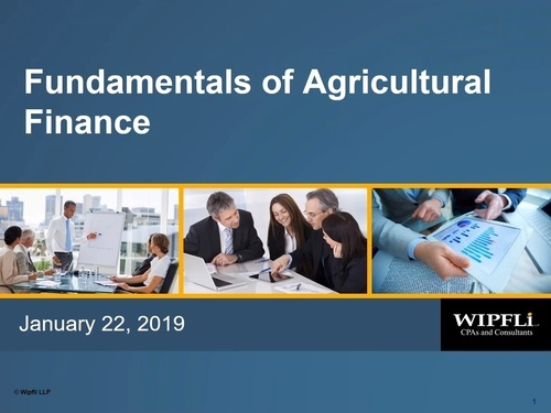 Agricultural Lending and Trends (3 Part Webinar Series)