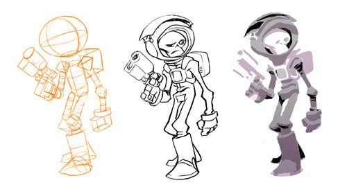 Robot With Geometric Forms Art Sketch