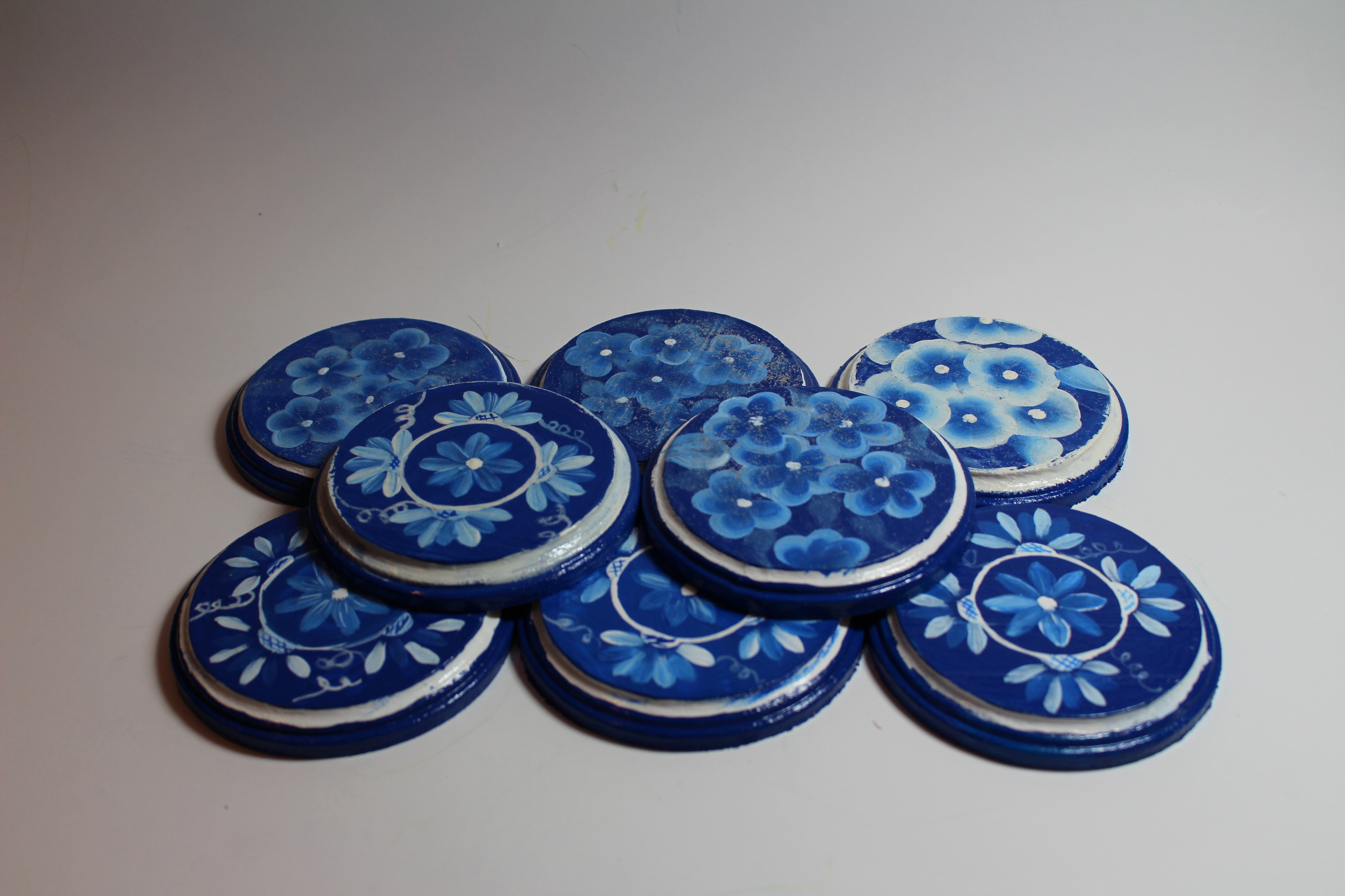 Blue and White Wooden Coasters