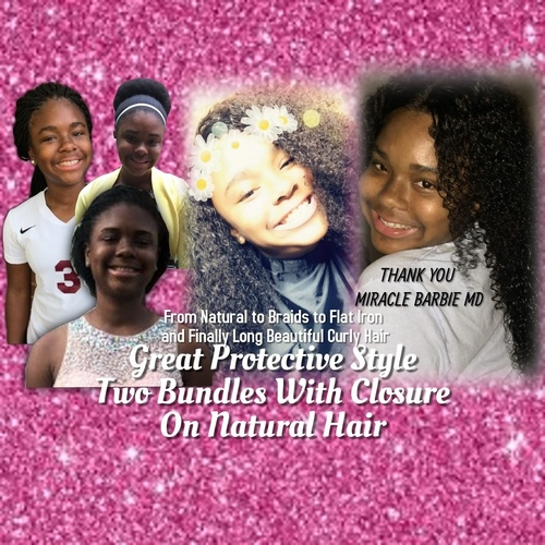 Great Protective Style - Two Bundles with Closure With Natural Hair
