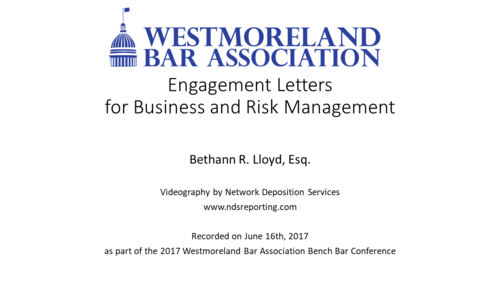 Engagement Letters for Business and Risk Management (1 PA Ethics CLE)