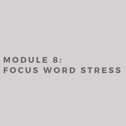 Module 8: Focus Word Stress (2019)