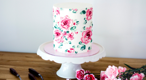 Painted Buttercream Rose Cake Tutorial