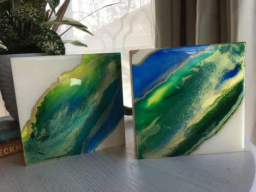 Alcohol Ink Fluid Art Abstract Sealed with Resin