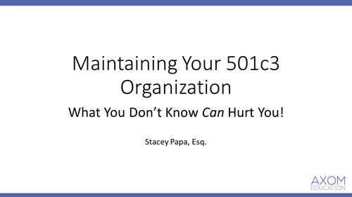 Maintaining your 501c3 Organization