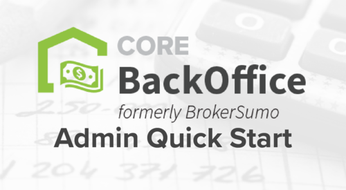 CORE BackOffice- Admin Quick Start