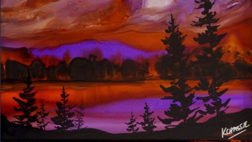 Paint a Sunset using Alcohol Inks | Beginner Class