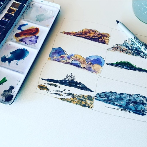How to Paint Simple Rocks Using Watercolor | Pen and Ink Details