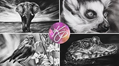 Realistic Animals in Charcoal