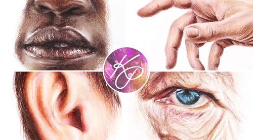 Portrait Features in Coloured Pencil