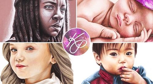Realistic Portraits in Coloured Pencil