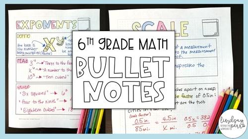 6th Grade Math Bullet Notes