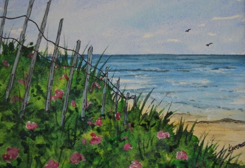 Watercolor Painting - Easy Beginner Beach Roses Step by Step