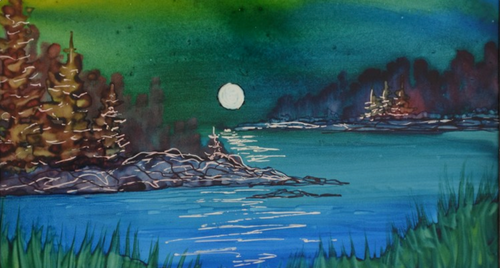 Alcohol Ink Moonscape Painting