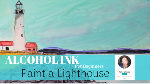 Alcohol Ink Lighthouse painting