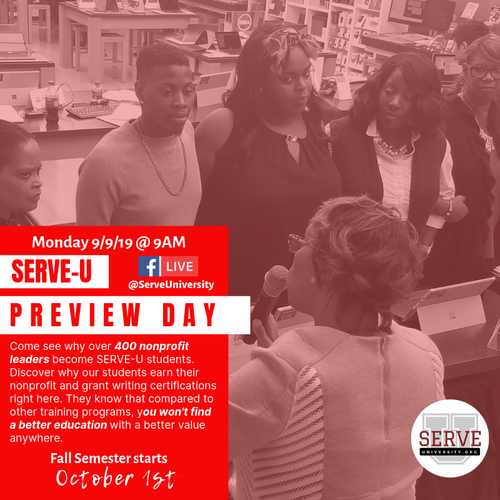 SERVE-U Fall Preview Day - 9/9/19 @ 9AM