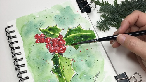 Watercolor Holly Berries - Mini Class