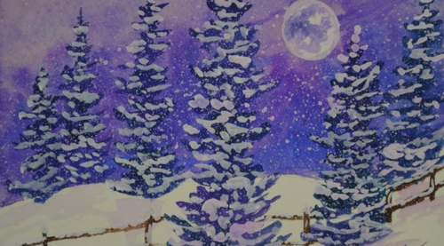 Winter Holiday Snow and Moon Watercolor Painting