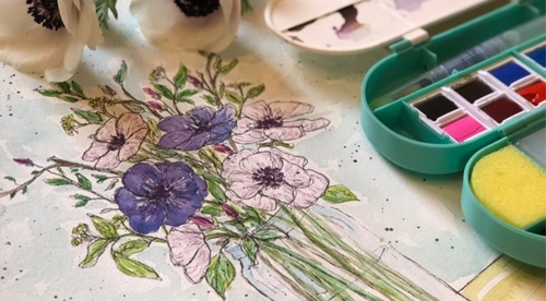 Floral Watercolor Sketching