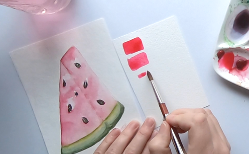 15 Minute Watercolor Watermelon Slice