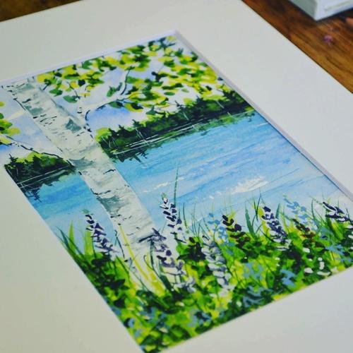 Beginner Watercolor Painting Lake Summer Birch Tree