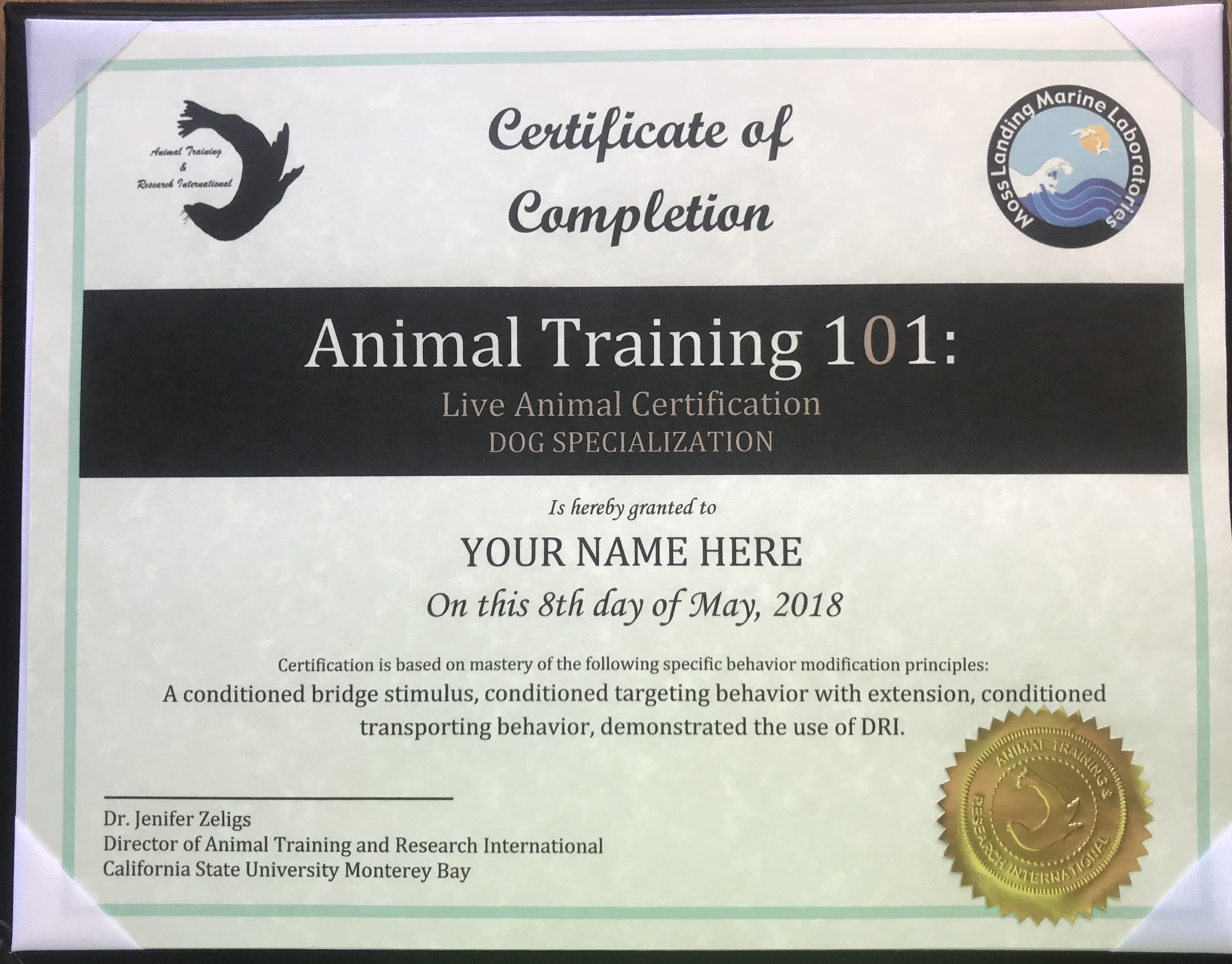 Specialized Live Animal Certification