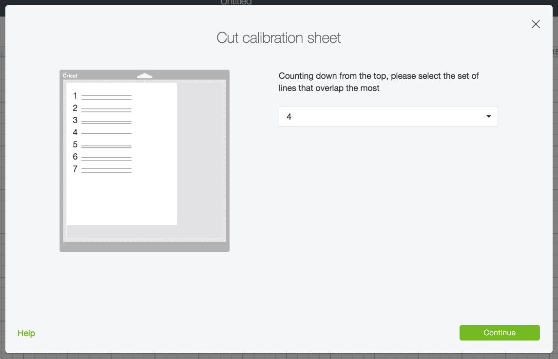 screenshot of how to calibrate Cricut Rotary Blade