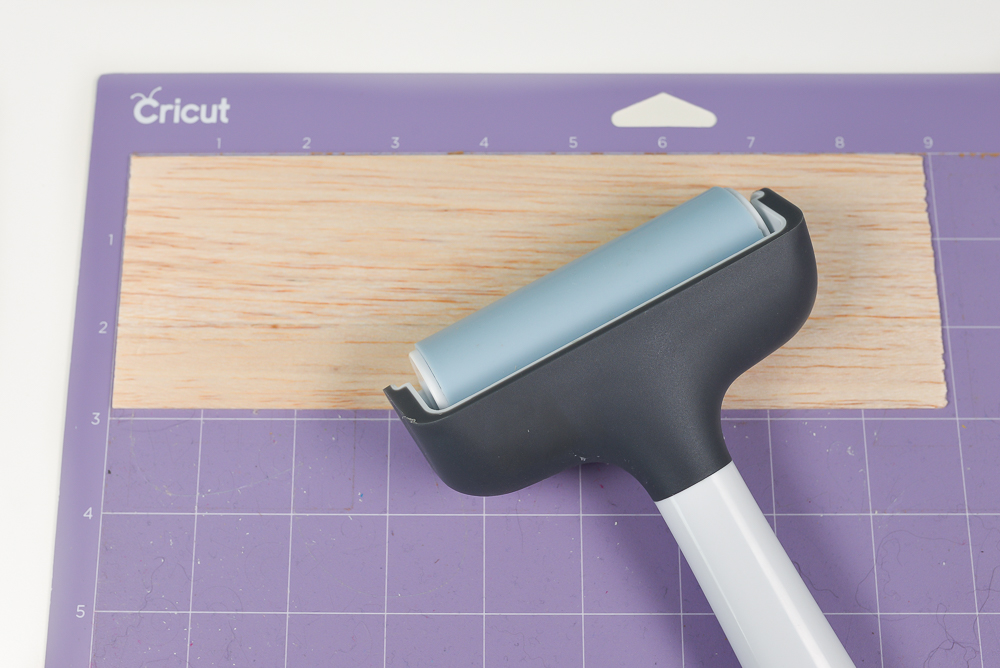 using Cricut brayer on balsa wood
