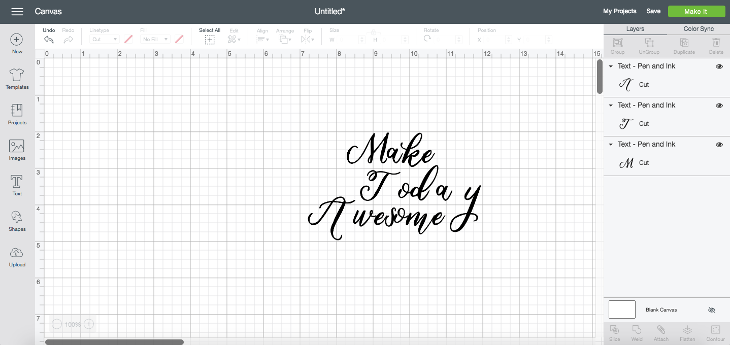 Ungroup to lines when working with script fonts in Design Space