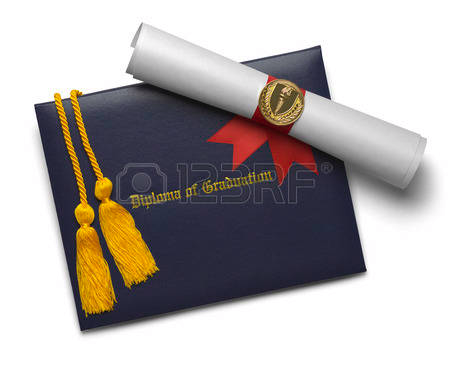Blue Diploma of Graduation Cover with Degree Scroll and Torch Medal with Honor Cords Isolated on White Background. Stock Photo - 38258415