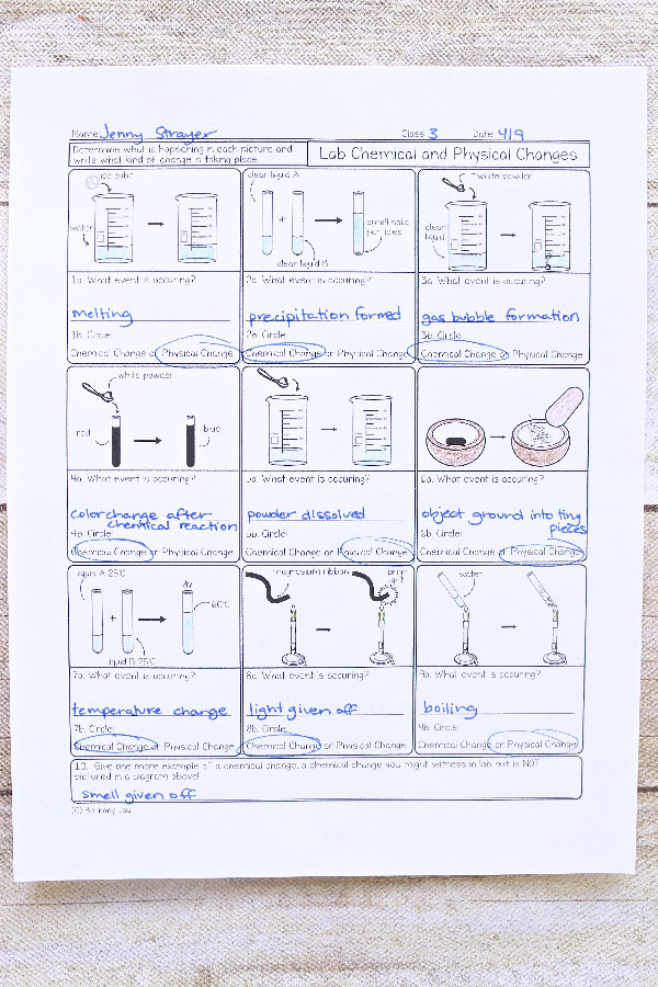 Properties Of Matter Chemistry Homework Pages