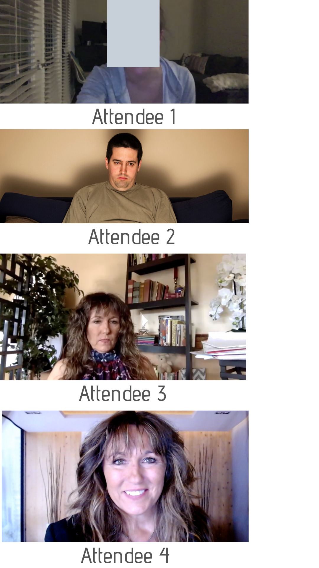 Bad and good examples of people in video meetings