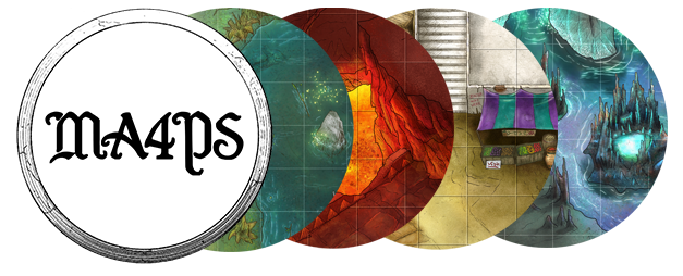 The MA4PS circular logo is followed by four circles showing bits of colorful maps: lakeside, lava pit, marketplace, and a glowing tower.