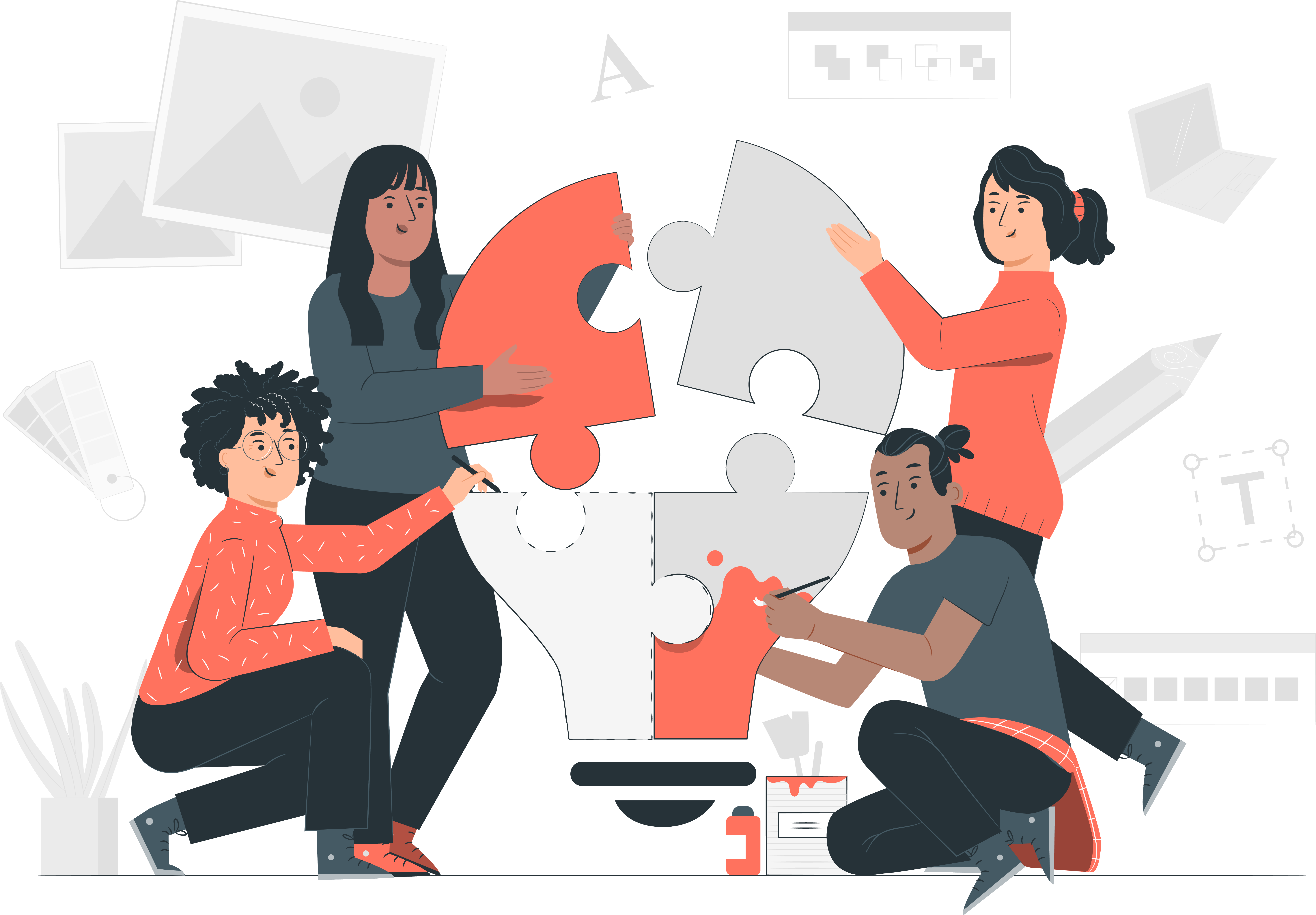 The illustration depicts a group of people, each wearing orange and dark gray, assembling a large puzzle. Each of the four figures holds a piece of the puzzle that, when assembled, resembles a large light bulb. On the left, a femme-presenting person with curly hair uses their pen to draw a dotted line. Above her is another femme-presenting person, holding an orange puzzle piece about to snap into place. On the right, a femme-presenting person holds a gray puzzle piece toward the orange one. Below her is a male-presenting figure painting on a puzzle piece with orange paint. Behind the people are faint drawings of creative things, such as pictures, pencils, typography, and paint brushes.