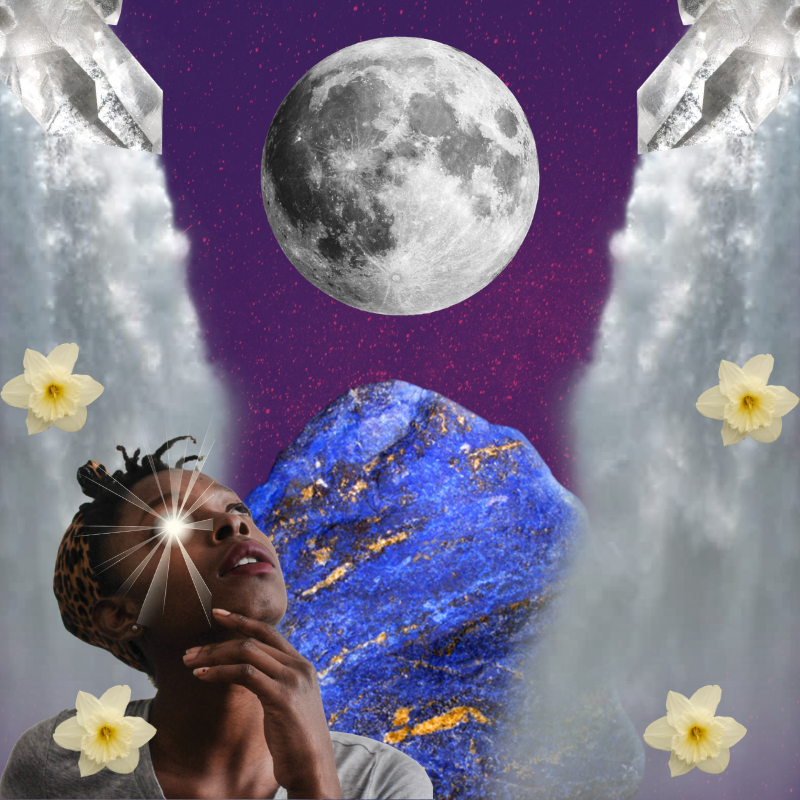 An abstract digital collage showing a woman looking up at the moon. She is surrounded by narcissus flowers. A large lapis lazuli crystal represents a mountain the background, and two waterfalls spill down the sides of the image while clear quartz crystals point down towards the center.