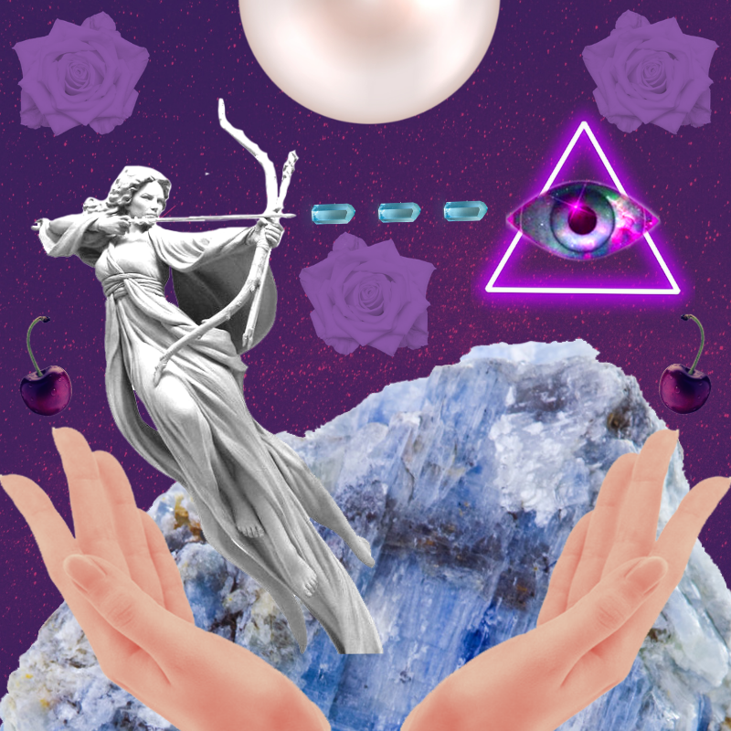 A digital collage showing a statue of a woman shooting an arrow into third eye imagery, a neon purple triangle with an eye in the center. Purple roses dot the center and upper corners, and a kyanite crystal serves as the mountainous backdrop. Open hands reach up from the bottom.