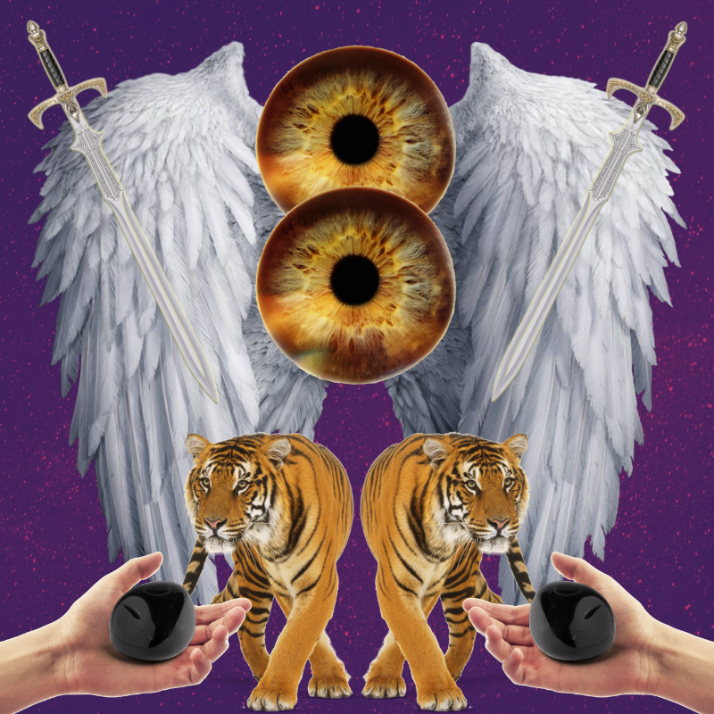A digital collage showing a mirror image of angel wings as the backdrop, with swords pointing towards the center. A tiger walks towards an outstretched hand holding an obsidian crystal. Two brown eyes are centered in the image representing intuition.
