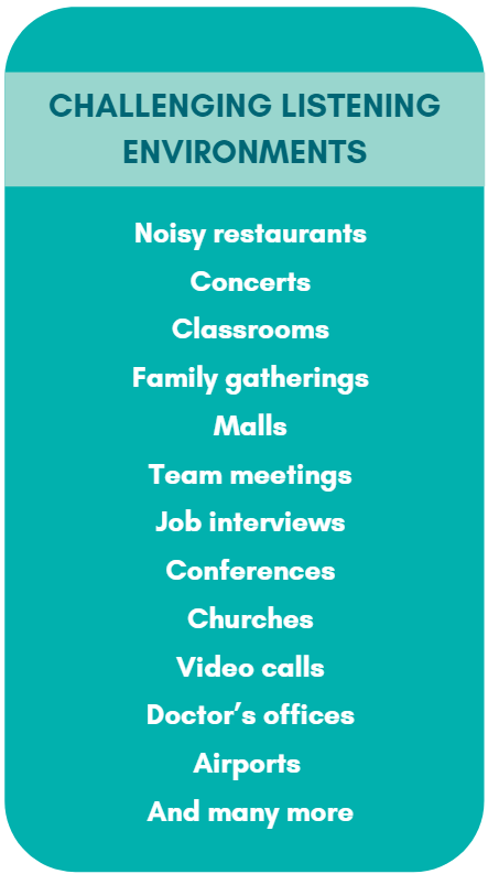 A list of challenging listening environments which include: noisy restaurants, concerts, classrooms, family gatherings, and more.