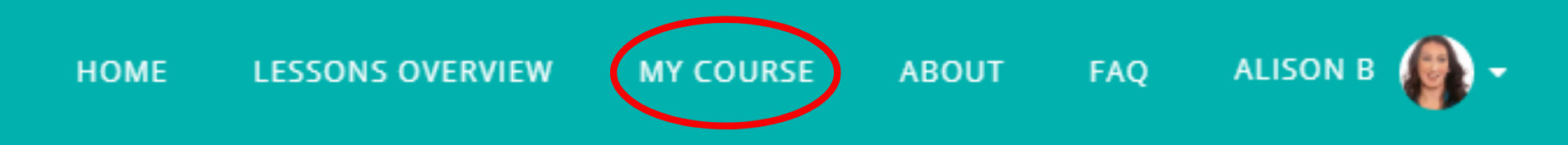 """The menu bar on the Read Our lips website with """"My Course"""" circled"""