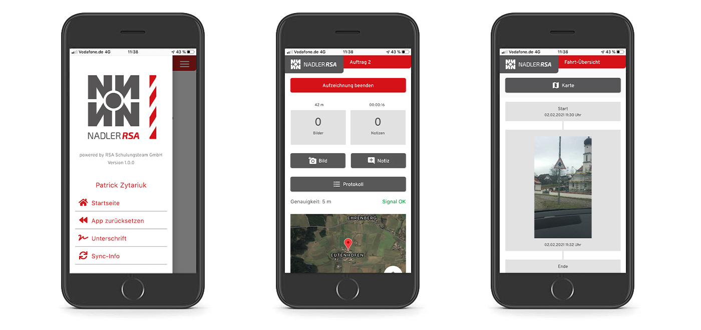 RSA App Ansicht am Smartphone