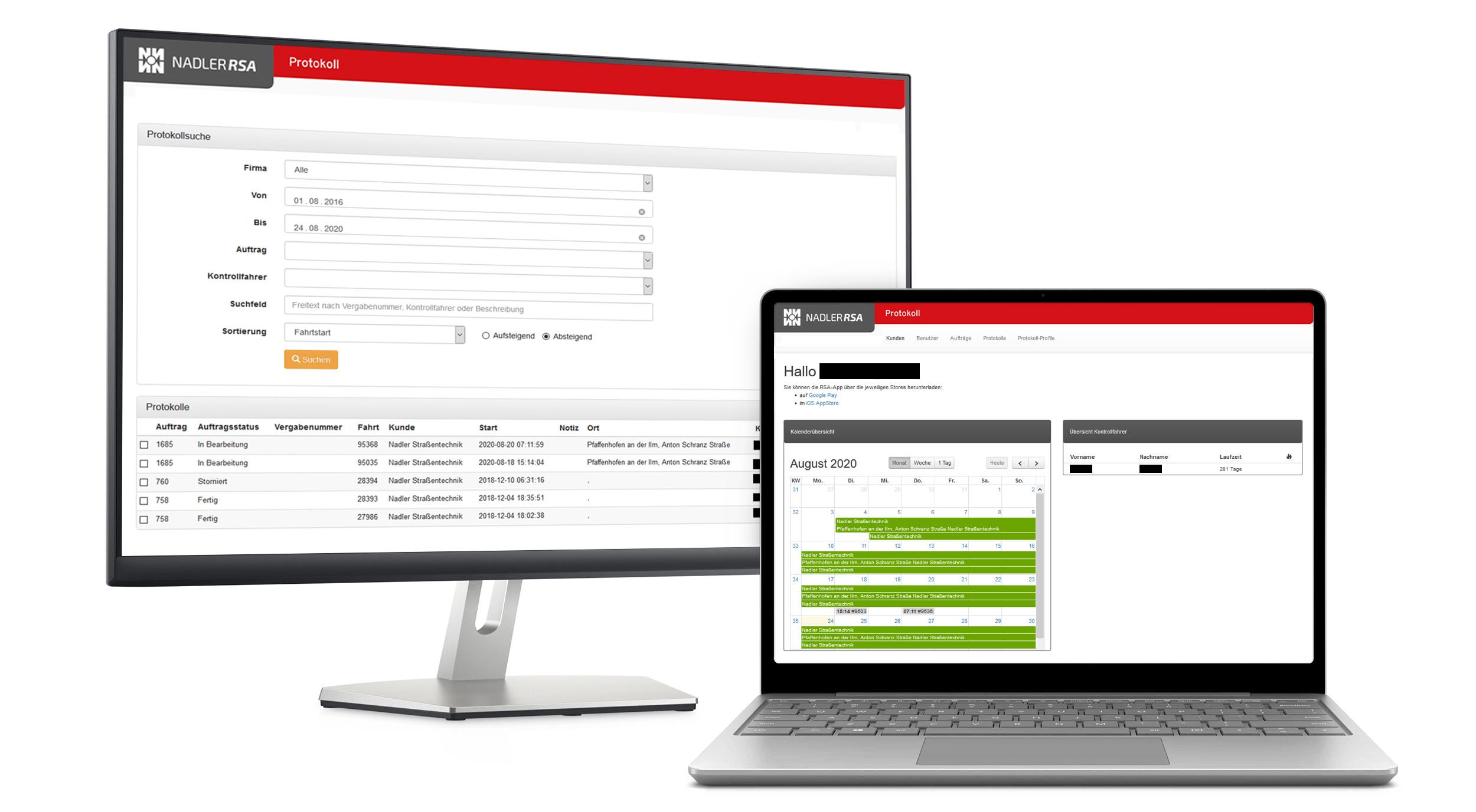 RSA App Admin-Ansicht am PC und Laptop