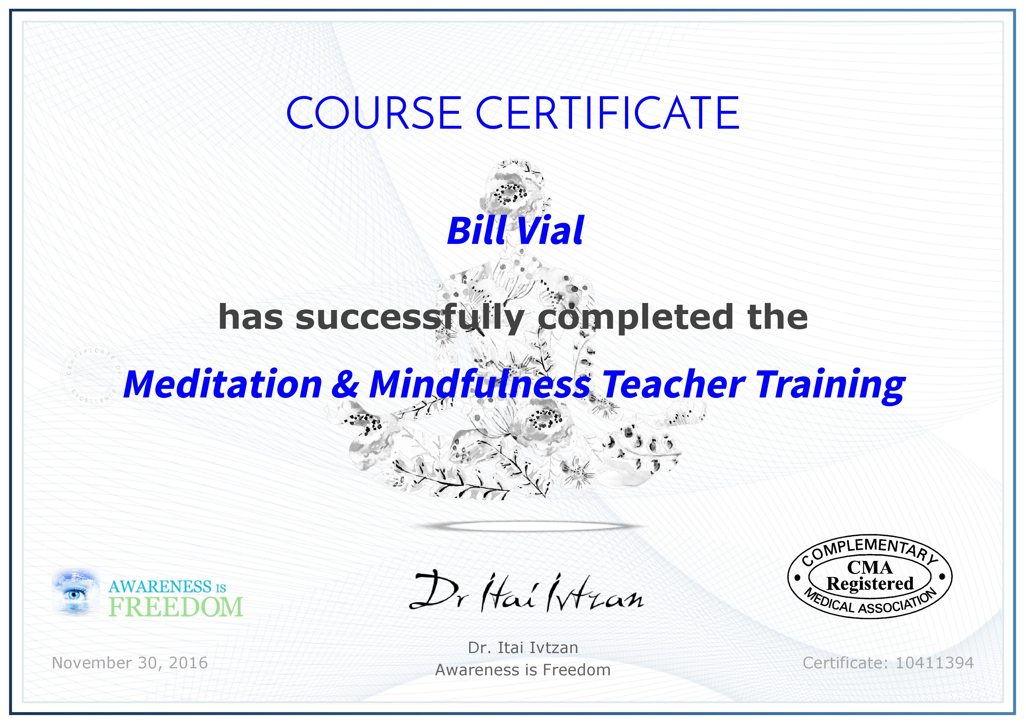 Meditation and mindfulness teacher training once you have completed the course you will receive a formal certificate indicating you are a certified meditation and mindfulness teacher xflitez Gallery