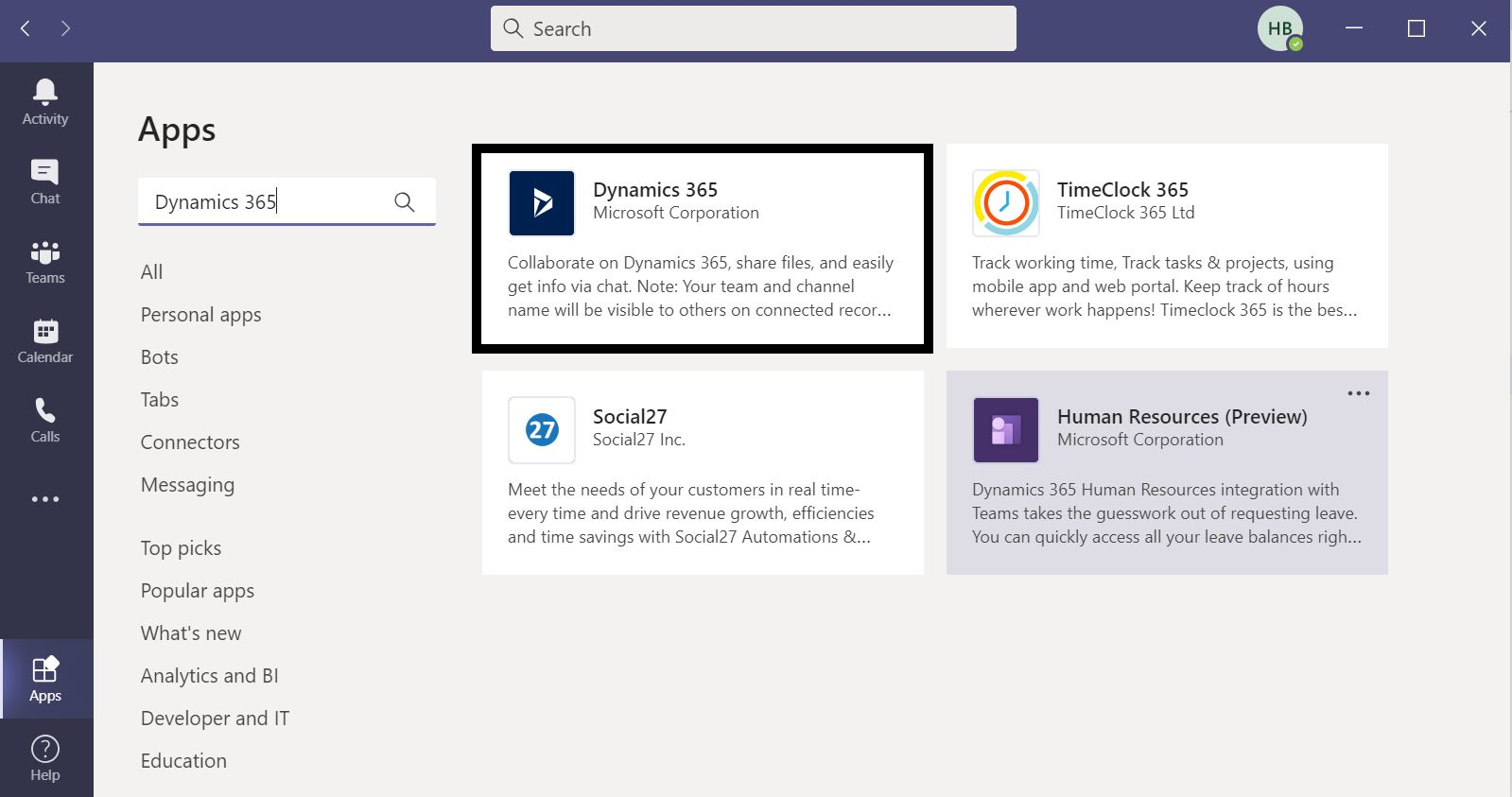 Microsoft Teams integration with Customer Engagement Apps in Dynamics 365