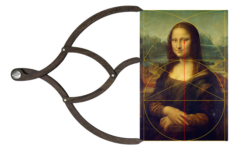 Proportioner open to reveal golden rectangle geometry informing the composition of the Mona Lisa by Da Vinci