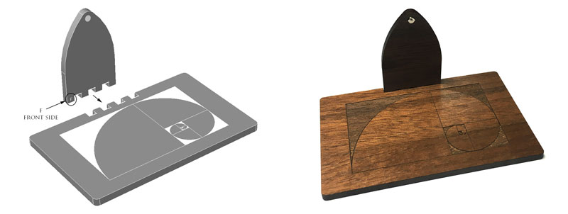 The 3D model of the stand (left) and photo of assembled physical stand (right)