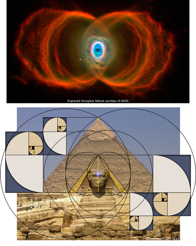 Scott Onstott's art comparing the hourglass nebula with the sacred geometry of the great sphinx and pyramid of Khafre in Egypt.