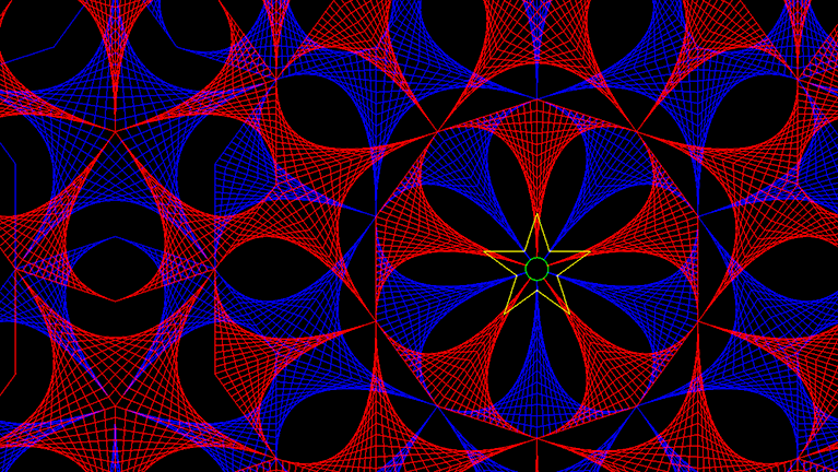 This complex pentagonal sacred geometry design in red and blue gives a strong feeling of depth.