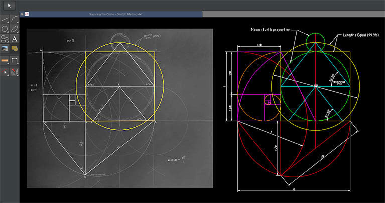 Screen capture of Q's user interface showing a hand drawn image on the left and this same drawing recreated in Q on the right.