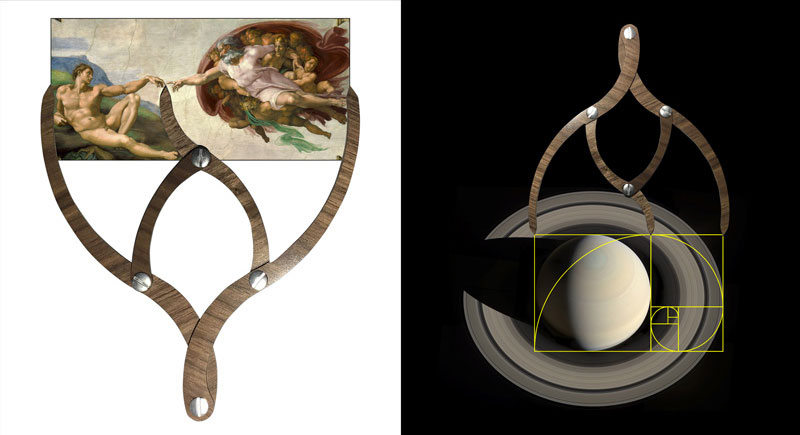 Proportioners showing the golden ratio with the Creation of Adam fresco by Michelangelo (left) and the fact that Saturn's rings are in a golden ratio with respect to the planet (right)