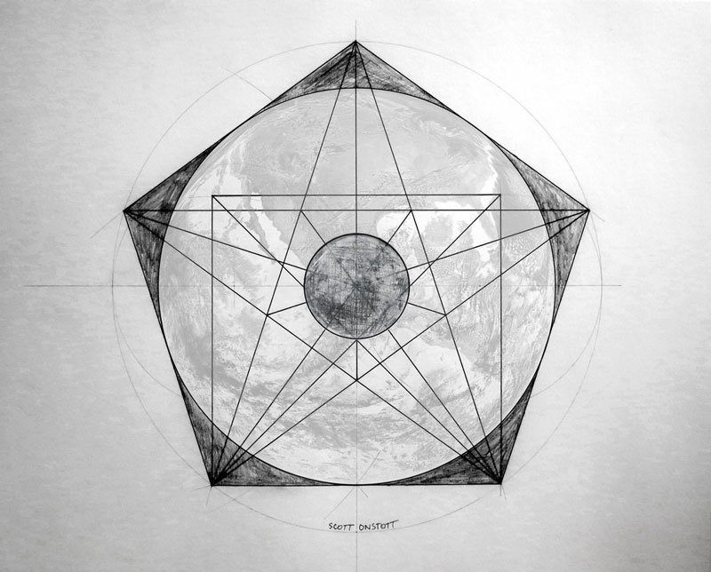 drawing made by hand shows proportions of earth and moon